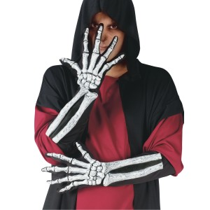 Skeleton Glove And Wrist Bone Gloves Adult - Black / One-Size