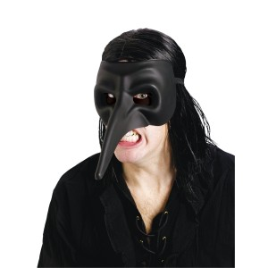 Venetian Raven Black Mask Adult - Black / One-Size
