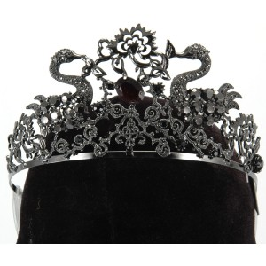 Black Jeweled Tiara Adult - Black / One-Size