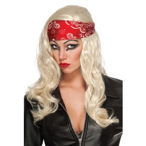 Lady Gaga Judas Video Wig & Bandana - Red/Blonde