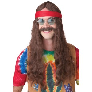 Hippie Man Brown Adult Wig and Moustache - Brown