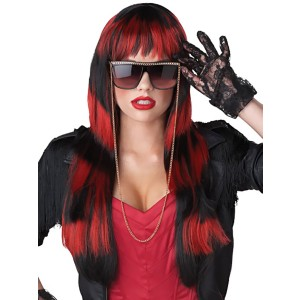 Untamed Black/Red Adult Wig