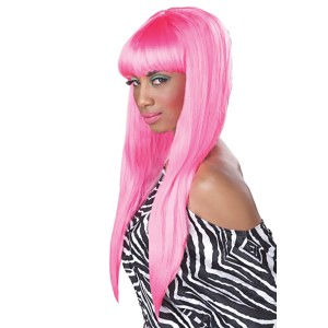 Bubble Gum Pink Adult Wig - Hot Pink