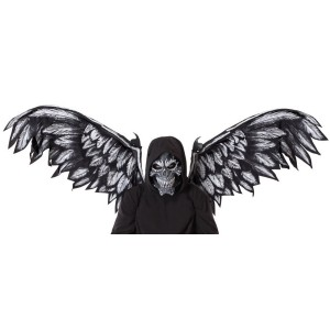 Fallen Angel Adult Mask and Wings Kit - Black / One-Size