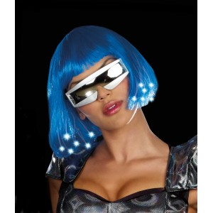 Intergalactic Light Up Blue Wig Adult - Blue / One-Size