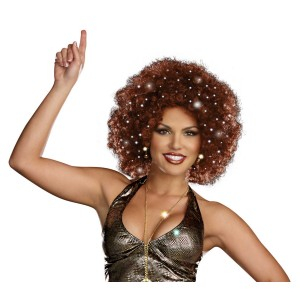 Disco Dollie Light Up Brown Mini Afro Adult - Brown / One-Size