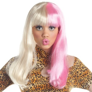 Two Tone Diva Blonde  Pink Adult Wig - Blonde / One-Size