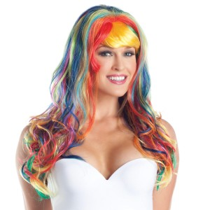 Curly Long Rainbow Adult Wig
