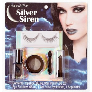 Hallow's Eve Silver Siren Makeup and False Eyelashes Kit Adult - Black