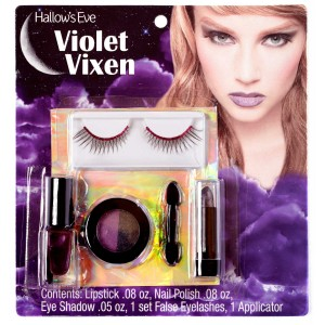 Hallow's Eve Violet Vixen Makeup and False Eyelashes Kit Adult - Purple