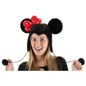 Minnie Mouse Hoodie Adult Hat - Black / One-Size