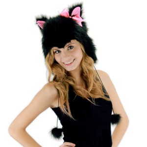 Kitty Hoodie Adult Hat - Black/Light Pink / One-Size