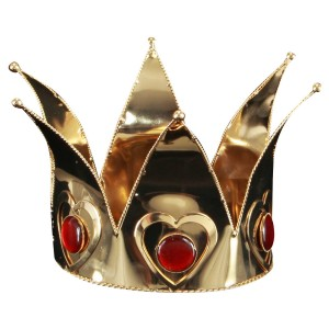 Mini Queen of Hearts Gold Adult Crown - Red/Gold / One-Size
