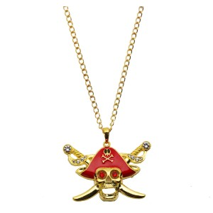 Buccaneer Beauty Glitter Adult Necklace - Red/Gold / One-Size