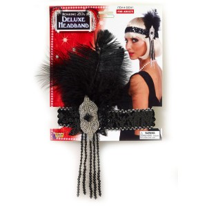 Flapper Deluxe Adult Headband - Black / One-Size