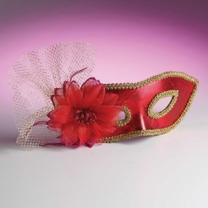 Venetian Masquerade Mask with Flower - Beige