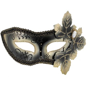 Venetian Mask with Leaves - Black