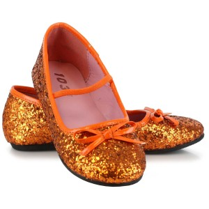 Orange Sparkle Ballet Flat Child Shoes - Orange / Small (11/12)