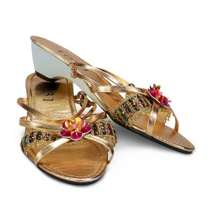 Gold Jewel Child Slippers - Gold / X-Large (4/5)