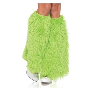 Furry Green Leg Warmers Adult - Green / One-Size