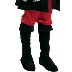 Black Sueded Pirate Boot Tops Child - Black / Small/Medium