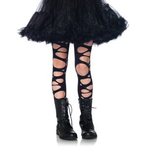 Tattered Child Tights - Black / Large (7-10)