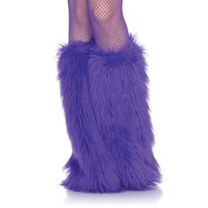 Furry Purple Leg Warmers - Purple / One-Size
