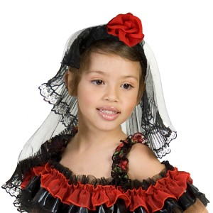 Red Rose Spanish Dancer Headpiece - Black / One-Size