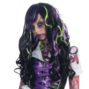 Black with Purple and Green Streaks Child Wig - Black / One-Size