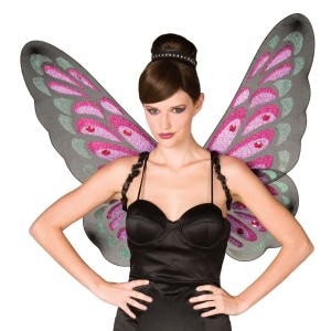 Gothic Butterfly Wings Adult - Black/Purple / One-Size