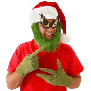 Dr. Seuss Grinch Hat with Beard Adult - White/Red / One-Size