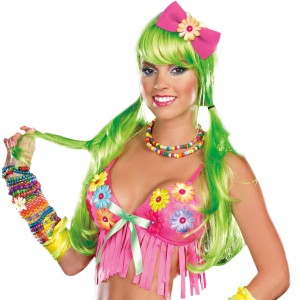 Light Up Long Adult Wig - Green / One-Size