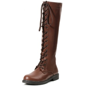 Knee High Lace Up Adult Boots - Brown / 9