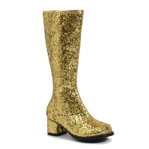Kids Gold Glitter Gogo Boots - Gold / Large (2/3)