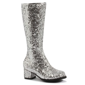 Kids Silver Glitter Gogo Boots - Silver / Large (2/3)