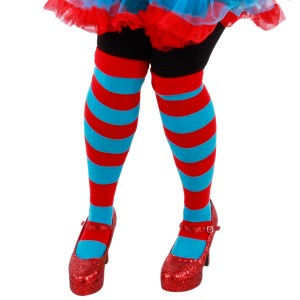 Cat In The Hat Thing 1 And Thing 2 Striped Knee Hights - Blue / One-Size