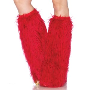Furry Red Leg Warmers - Red / 0-S