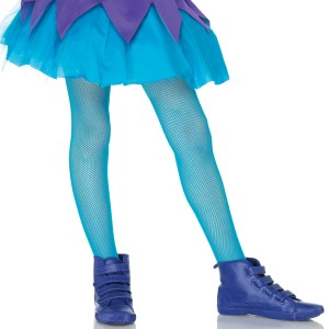 Kids Fishnet tights - Neon Blue