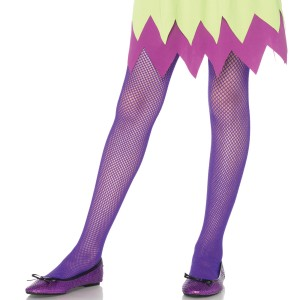 Kids Fishnet tights - Neon Purple