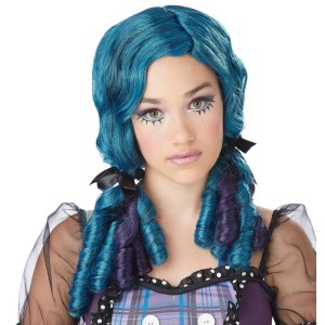 Teal & Purple Doll Curls Wig - Purple/Green