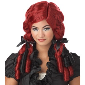 Red & Black Doll Curls Wig - Red/Black
