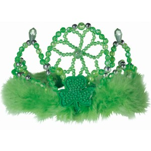 St. Patrick's Day Beaded Marabou Tiara - Green / One-Size