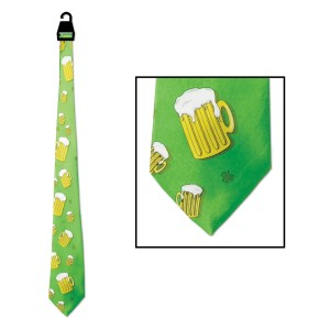 St. Patrick's Day - Beer Mug Tie - Green/Yellow / One-Size