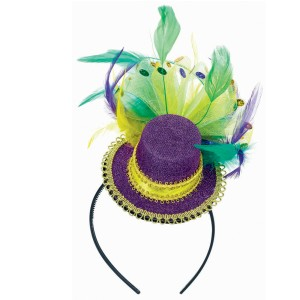 Mardi Gras - Feathered Mini Hat Headband - Purple/Green / One-Size