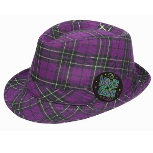 Mardi Gras - Plaid Fedora Hat - Purple / One-Size