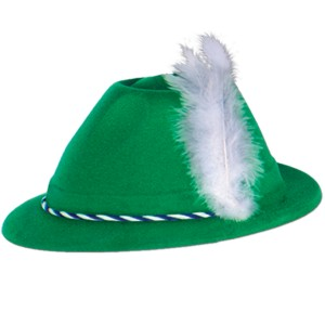 Oktoberfest Green Velour Tyrolean Hat Adult - Green / One-Size