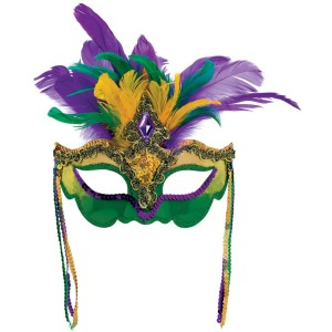 Mardi Gras Feather Venetian Mask - Green/Purple/Yellow / One-Size