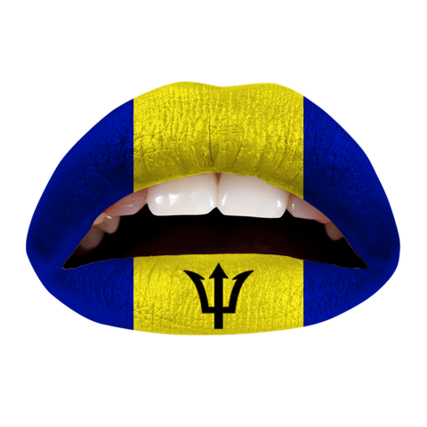 Temporary Lip Tattoos - Barbadian Flag