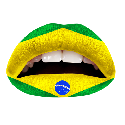Temporary Lip Tattoos - Brazilian Flag