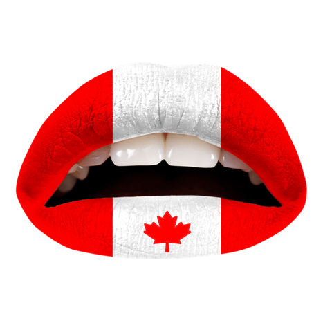 Temporary Lip Tattoos - Canadian Flag